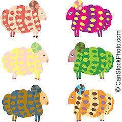 sheep, conjunto, animales, caricatura, vector