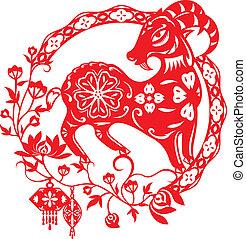 sheep, cordero, illustra, chino, año