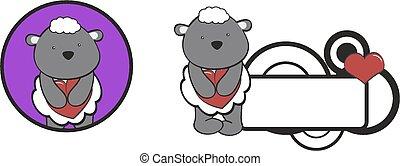 sheep, cuore, abbraccio, cartone animato, valentina