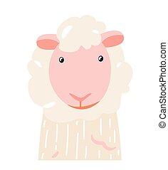 Sheep cute animal baby face vector illustration. Hand drawn style nursery character. Scandinavian funny kid design