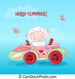 sheep, cute, car, sentando
