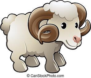 sheep, cute, fazenda, ram, ilustração, vetorial, animal