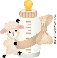 sheep, cute, garrafa leite, bebê