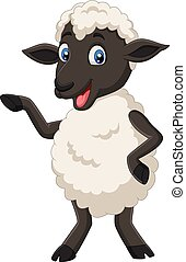 sheep, cute, isoleret, poser, baggrund, hvid, cartoon