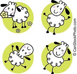 sheep, cute, jogo, doodle, isolado, branca