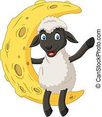 sheep, cute, måne, cartoon, siddende