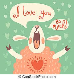 sheep, cute, ou, aniversário, feriado, outro, cartão