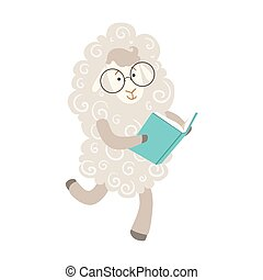 sheep, desgastar, animais, biblioteca, personagem, bookworm, jardim zoológico, livro, ilustração, cobrança, parte, leitura, sorrindo, caricatura, óculos