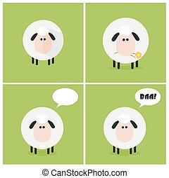 Sheep Design Card. Collection Set