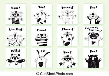 sheep, divertente, animali, childrens, feste, pug, volpe, orso, maiale, tiger, disegno, exclamations., coniglio, t-shirts, cartelle, adesivi, stanze, gatto, panda, manifesti
