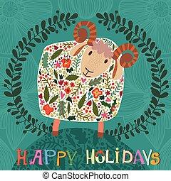 sheep, divertente, simbolo, -, vacanze, flowers., vector., 2015, scheda natale, felice