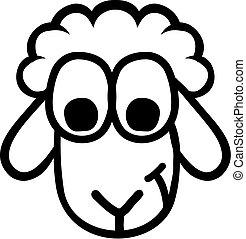 sheep, divertente, testa