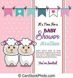 sheep, doccia, gemelli, bambino, disegno, scheda