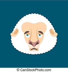 sheep, emoji., lantgård, illustration, ansikte, avatar., vektor, djur, trist, sorglig