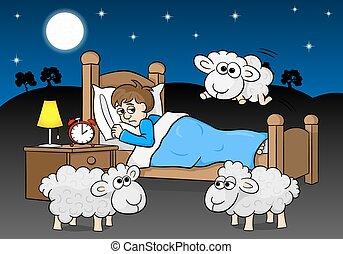 sheep, encima, insomne, cama, saltar, hombre
