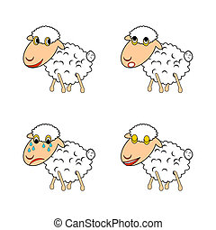 sheep, engraçado, diferente, expressar, emoções