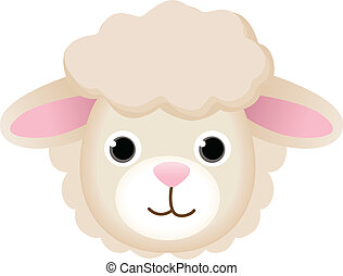 Image representing a sheep face, isolated on white, vector design.