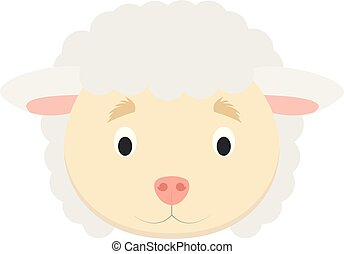 Sheep face in cartoon style for children. Animal Faces Vector illustration Series