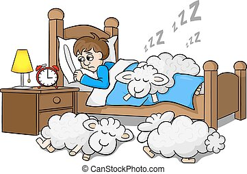sheep fall asleep on the bed of a sleepless man
