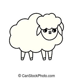 sheep farm animal cartoon icon thick line