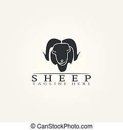 Sheep farm icon template, creative vector logo design, animal husbandry, illustration element