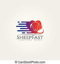 Sheep farm icon template, creative vector logo design, speed, animal husbandry, illustration element