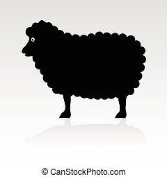 sheep, fekete, vektor, árnykép