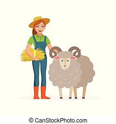 sheep, felice, concetto, caratteri, appartamento, fattoria, -, isolato, illustrazione, cartone animato, fondo., donna, vettore, animale, contadino, sorridente, agricoltura, hay., bianco, design.