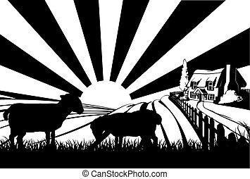 Sheep field concept