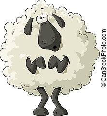 Frightened sheep on a white background, vector