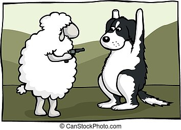 A sheep criminal holds a border collie at gunpoint.