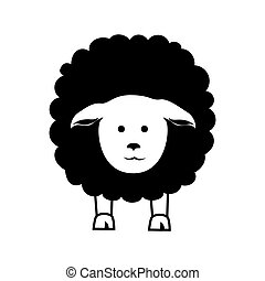 sheep, gráfico, granja, vector, animal, icono