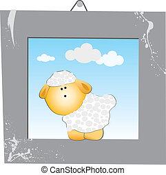 sheep, gråne, ramme, hvid