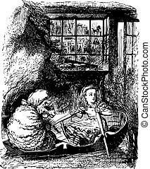 sheep, grabado, qué, filas, allí, -, alice, espejo, libro, por, fundar, original