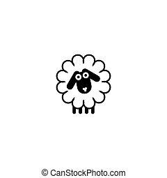 sheep, grafické pozadí., čerň, emblém, neposkvrněný