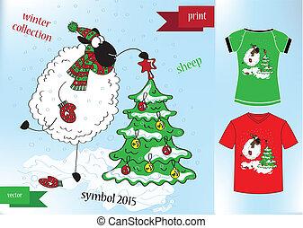 sheep, grafikus, tél, t-, tervezés, nyomtat, kalap, ing