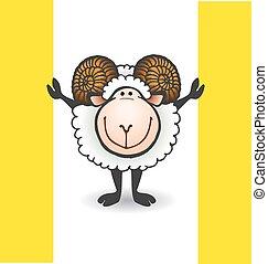 sheep, grande, corna