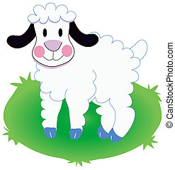 Sheep standing in grass illustration.