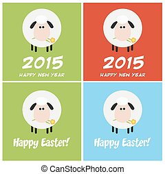 Sheep Greeting Card. Collection Set