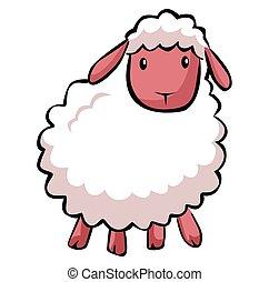 sheep, hapy, caricatura