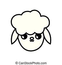 sheep head farm animal cartoon icon thick line