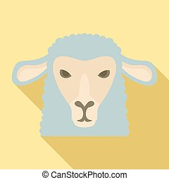 Sheep head icon, flat style
