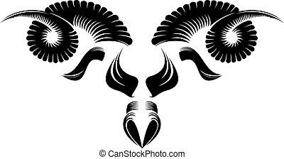 sheep head - black and white sheep head pattern design.