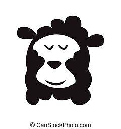 sheep, head., isolato, vector., cartone animato