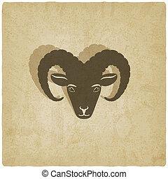 sheep head symbol old background
