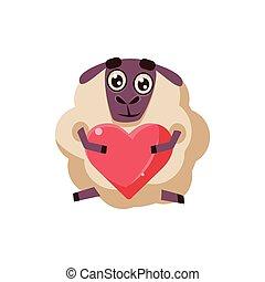 Sheep Holding A Heart