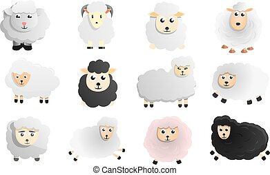 Sheep icon set, cartoon style
