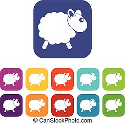 Sheep icons set flat