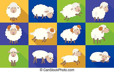 Sheep icons set, flat style