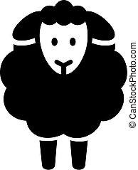 sheep, ikona, nárys